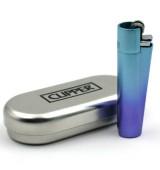 Accendino Mini Clipper Blue Gradient metallo a gas ricaricabile