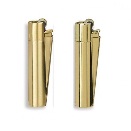 Accendino Clipper Gold Metal a Gas Ricaricabile