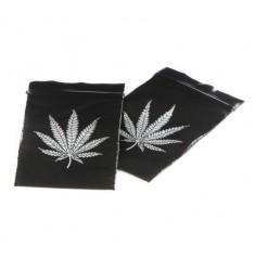 Bustina nera zip disegno foglia marijuana 40x60 mm