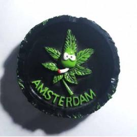 Posacenere rotondo in ceramica nero con scritta Amsterdam