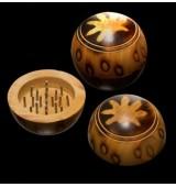 Grinder in legno palla 55 mm con foglia