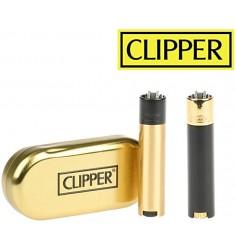 Accendino Clipper Nero e Oro a gas ricaricabile