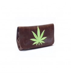 Portatabacco Siesta Marijuana Leaf in ecopelle